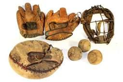 Collection of Vintage Baseball Gloves, Balls and Mask