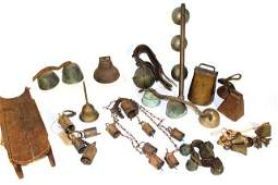 Large Collection of Sleigh Bells Cow Bells and Brass
