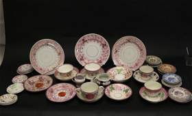 19th C Lustreware and Pearlware Cups  Saucers