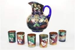 Vintage Enameled Carnival Glass Juice Set