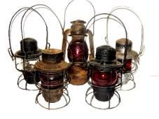 Five Vintage Railroad Lanterns ''Red Globe's''