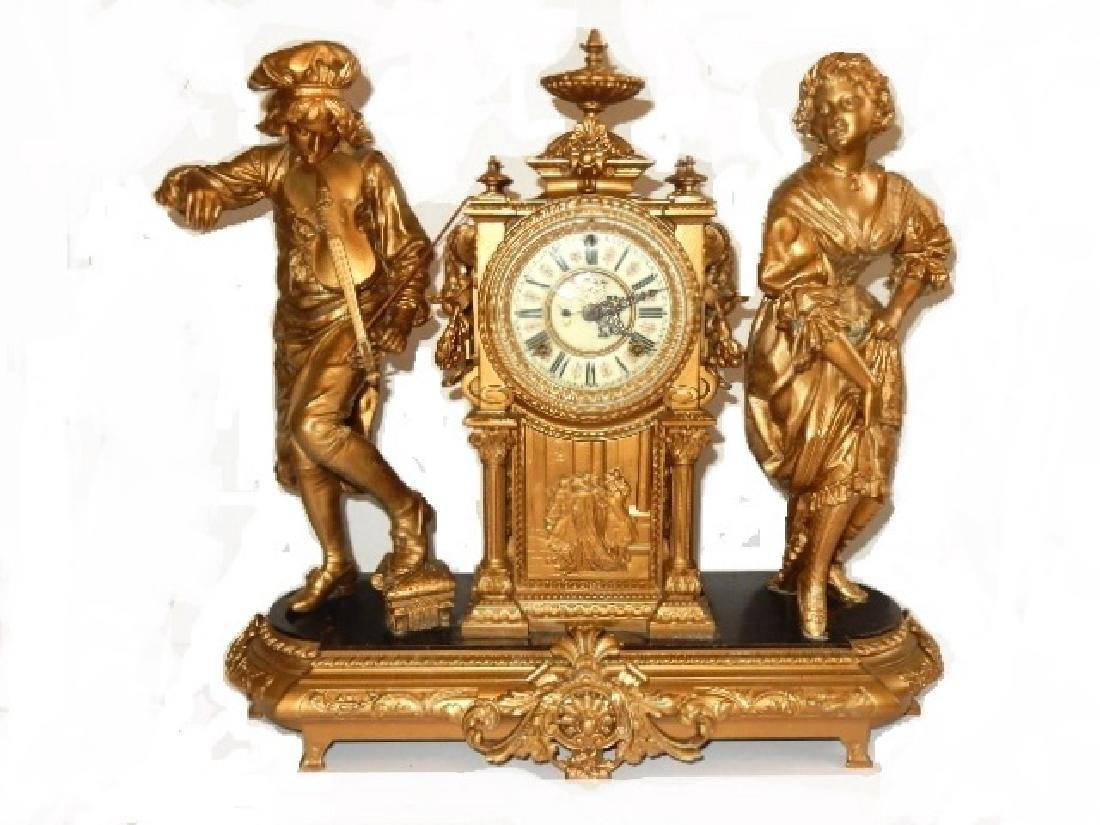 Ansonia ''Violinist & Dancer's Large Mantel Clock