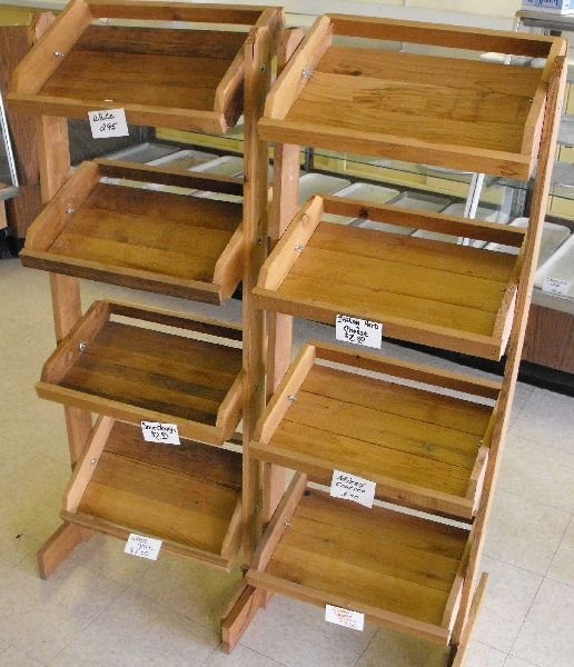 WOODEN COUNTRY STORE STYLE DISPLAY SHELVES LOT OF