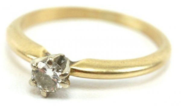 5A: 14K YELLOW GOLD 1/4 CARAT DIAMOND RING