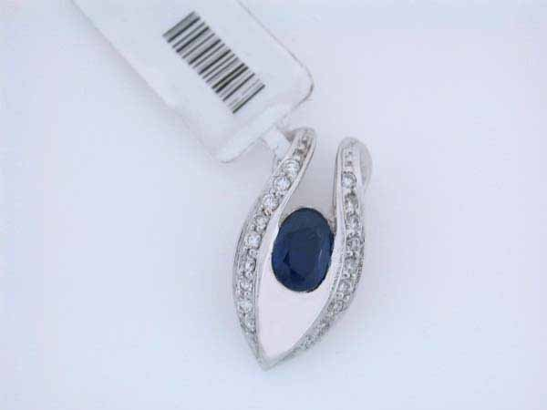 4: 14k White Gold Diamond and Sapphire Pendant