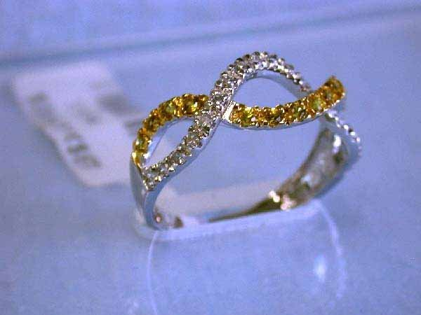 7: 14K White Gold Ring with Diamonds & Yellow Sapphires