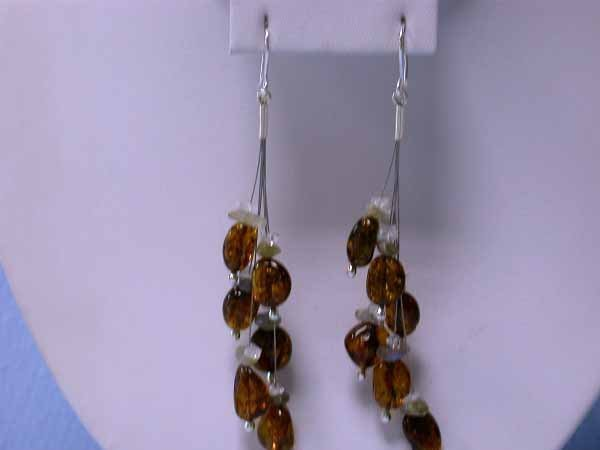 12: Silver, Amber and Gemstones Dangling Earrings