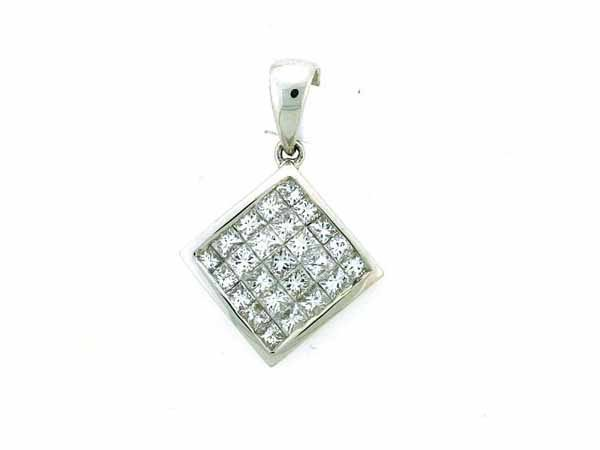 16: 14K White Gold Diamond Pendant