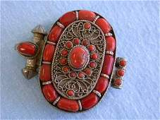 1016: Vintage Trinket Box in Silver and Coral