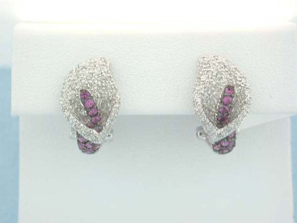 1: 18k White Gold Earrings with Diamonds and Sapphires