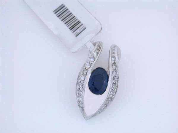4: 14k White Gold Diamond and Sapphire Pendant