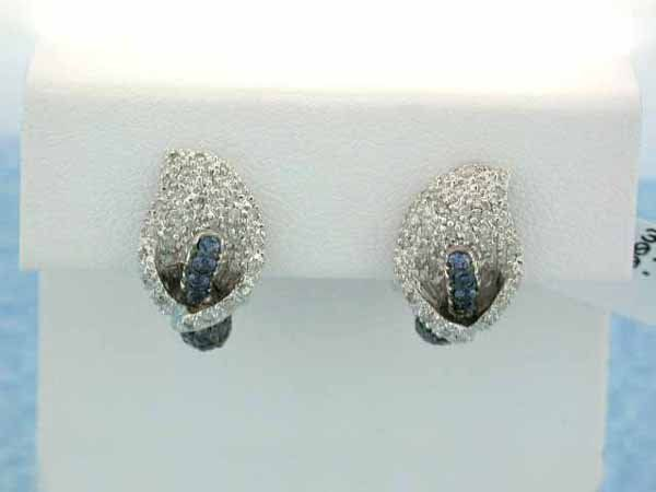 18k Yellow Gold Earrings with Diamonds and Sapphire