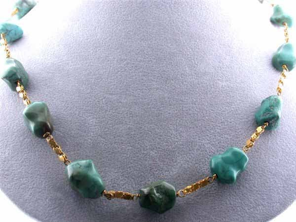 9: 18k Yellow Gold and Turquoise Necklace