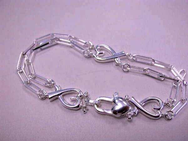 25: Sterling Silver Heart Bracelet made in ITALY