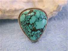 143 Vintage Look Silver Ring with Natural Turquoise