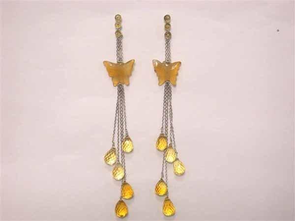 509: 18k White Gold Earrings Citrine