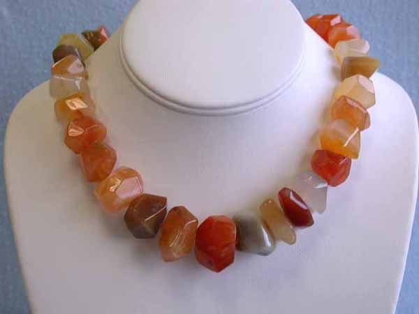 510: Carnelian Necklace with Silver Clasp