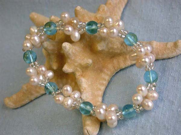 511: Fresh Water Pearl and Colored Gemstone Bracelet