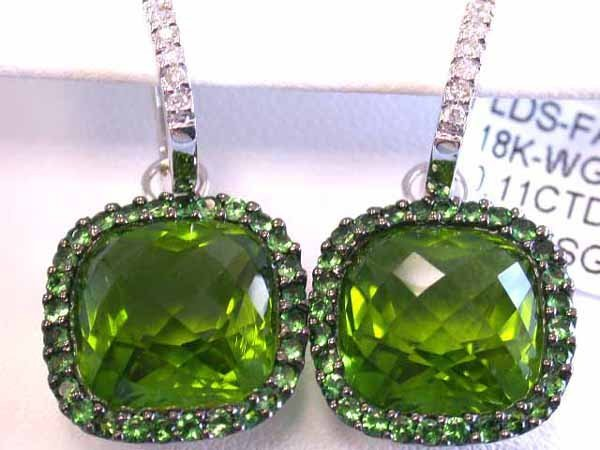 589: 18k Gold Earrings with Diamonds Tsavorite & S. Per