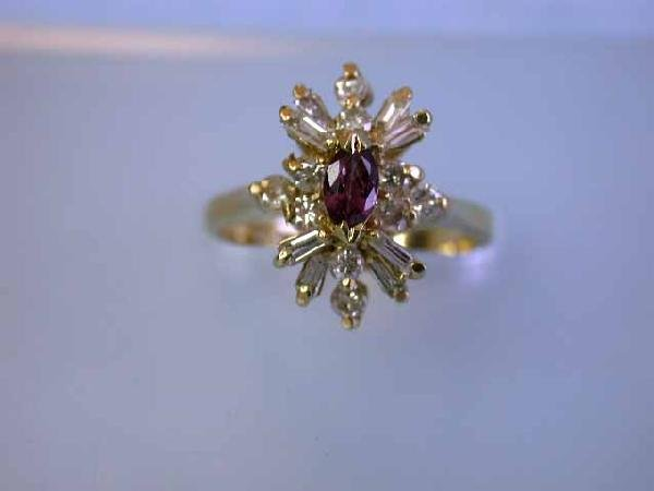 14k Yellow Gold Diamond Ring with Ruby
