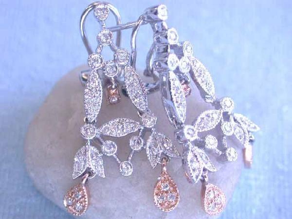 14k Gold Earrings with Diamonds - 2