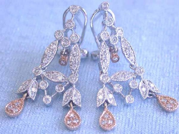 14k Gold Earrings with Diamonds - 3