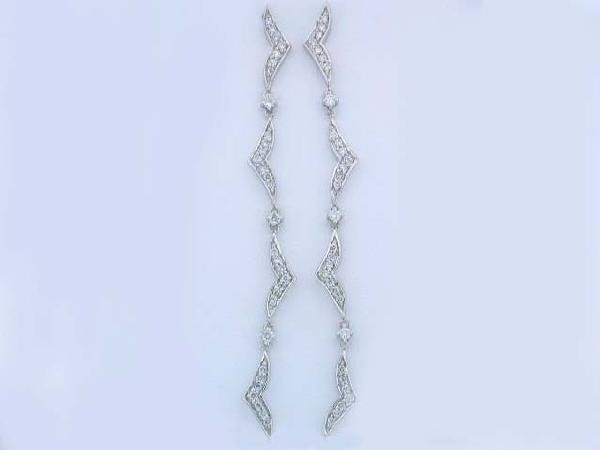14k White Gold Dangling Earrings with Diamonds