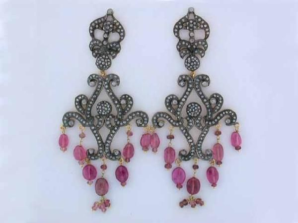 Gold and Silver Earrings with Tourmaline & Diamonds