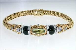 John Hardy 18K Gold Diamond & Colored Stone Bracelet.