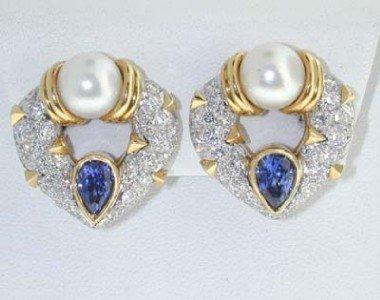 Salavetti 18K Gold Pearl, Diamond & Sapphire Earring