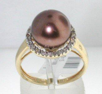14K Yellow Gold Diamond & Pearl Ring