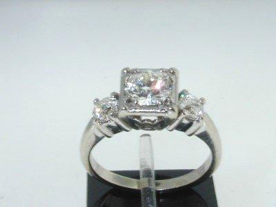 14K White Gold Lady's Round Diamond Engagement Ri