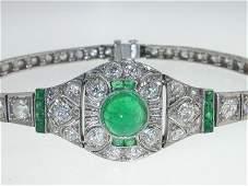 Antique Platinum Diamond Emerald Bracelet from 192