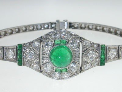 Antique Platinum Diamond Emerald Bracelet from 192