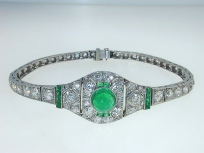 Antique Platinum Diamond Emerald Bracelet from 192 - 2
