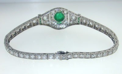 Antique Platinum Diamond Emerald Bracelet from 192 - 3