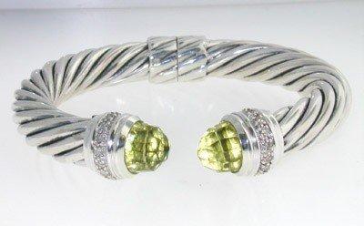 David Yurman Silver, Prasiolite & Diamond Bangle.