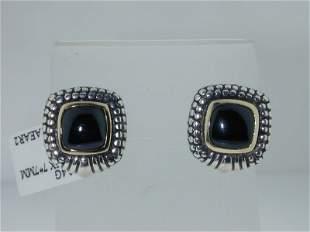 Silver & 14k Yellow Gold, Onyx Earrings