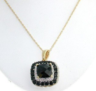 14K Yellow Gold Diamond & Black Spinel Cush Necklace.