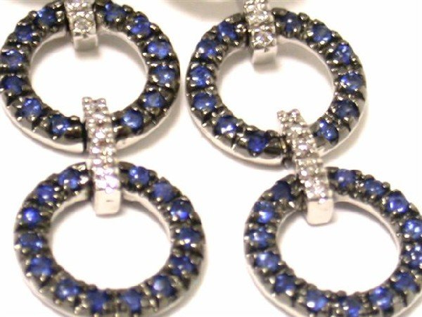 14k White Gold Earrings with Diamonds and Sapphire