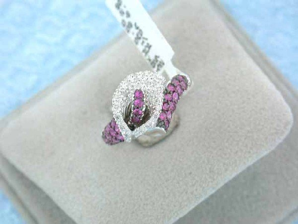18k White Gold Ring with Diamonds and Pink Sapphires