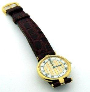Cartier Vermeil Silver, Leather Strap Watch.
