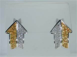 Enigma 18K White Gold Yellow Sapphire Diamond Earr