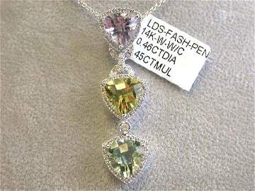 14kw Gold Diamond Necklace w/ Multi-colored Pendant