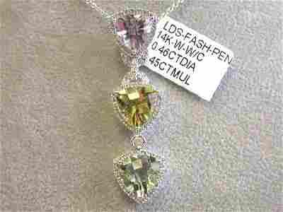 14kw Gold Diamond Necklace w/ Multi-colored Pendant