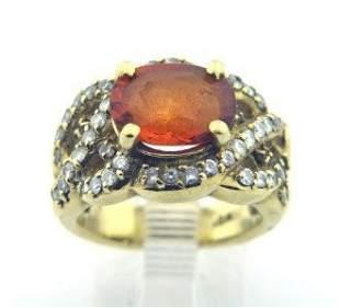18K Yellow Gold, Citrine & Diamond Ring
