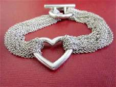 Tiffany Heart Multi Chain Mesh Bracelet