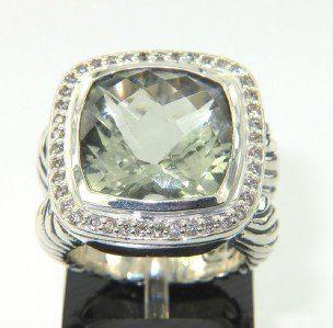 David Yurman Silver, Prasiolite & Diamond Ring.