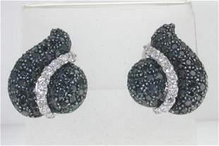 18K White Gold Black Diamond & Diamond Earrings