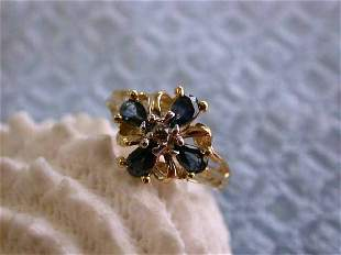 14k Yellow Gold Ring with Diamonds and Sapphires